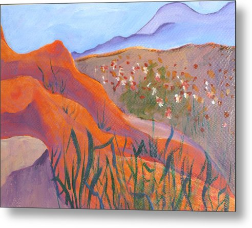 Landscape Metal Print featuring the painting Superstition Spring by Kathy Mitchell