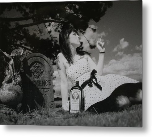 Black & White Metal Print featuring the photograph The Death Of Innocence by Erika Lesnjak-Wenzel