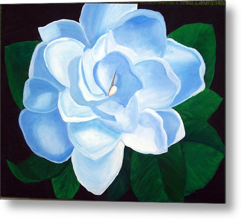 Flowers Metal Print featuring the painting Blue Gardinia by Marcia Paige