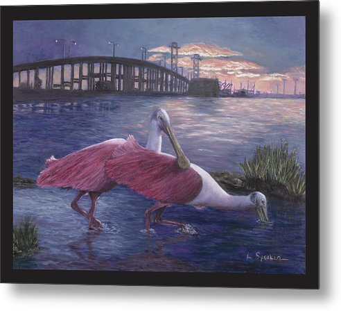 Nature Metal Print featuring the painting Packery Sunset by Linda Speaker