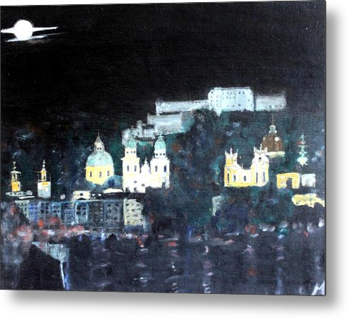 City Metal Print featuring the painting Salzburg In Moonlight by Michela Akers