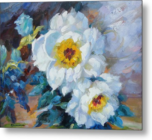 Flower Close Up Metal Print featuring the painting Indoor Garden by Imagine Art Works Studio