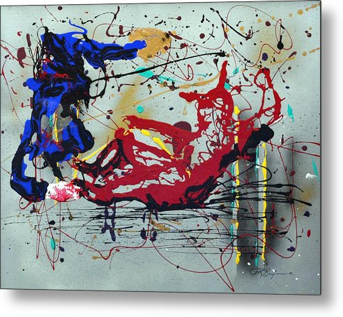 Baseball Metal Print featuring the painting October Fever by J R Seymour