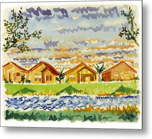 Landscape Metal Print featuring the painting Siena Lakes by Ralph Papa