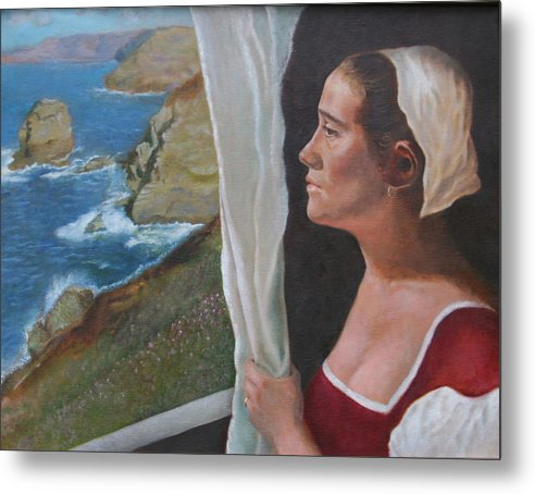 Portrait Metal Print featuring the painting The Captain's Wife by Rf Hauver