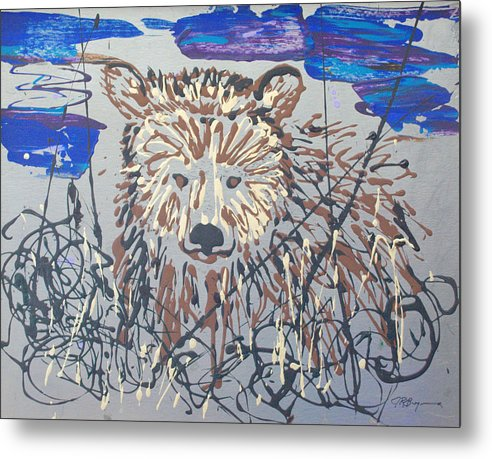 Bear In Bushes Metal Print featuring the painting The Kodiak by J R Seymour