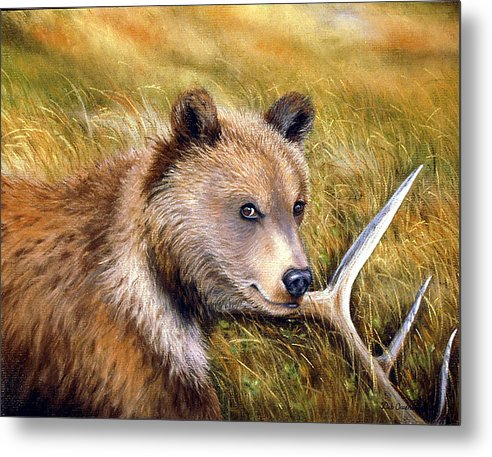 Grizzly Metal Print featuring the painting Watchful Eye by Deb Owens-Lowe