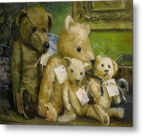 Antique Teddy Bears Metal Print featuring the painting Just A Lookin For A Home by Lilli Pell
