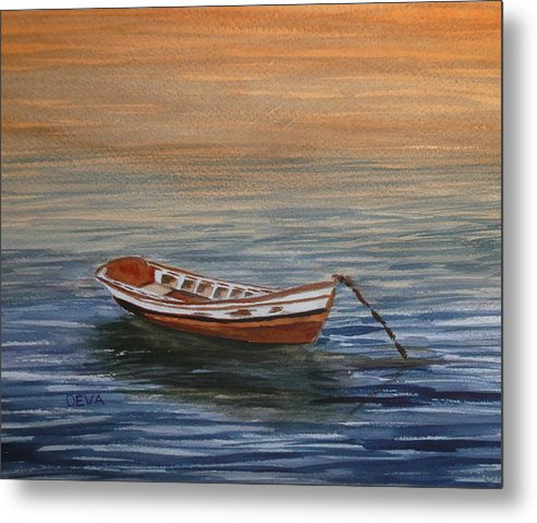 Water Metal Print featuring the painting Dinghy At Dusk by Deva Claridge