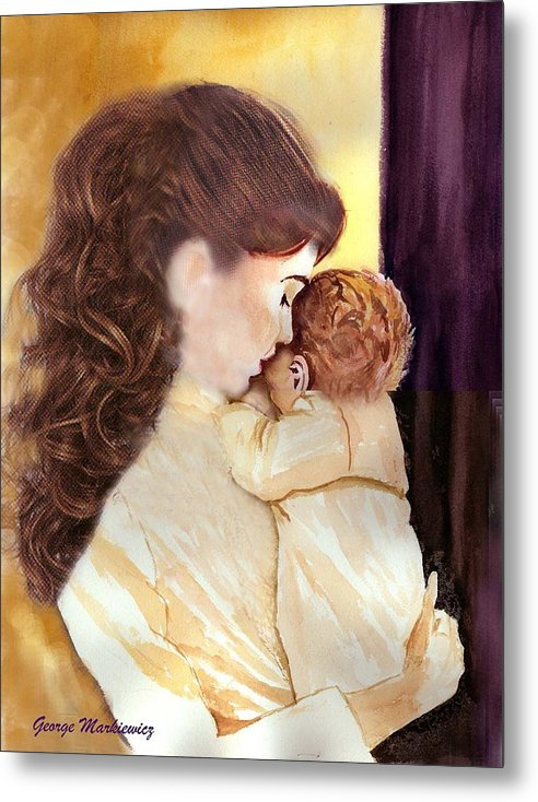 Mother And Baby Metal Print featuring the print Tenderness by George Markiewicz