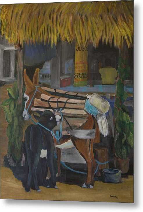 Animal Metal Print featuring the painting Donkey At Taco Stand by Anita Wann