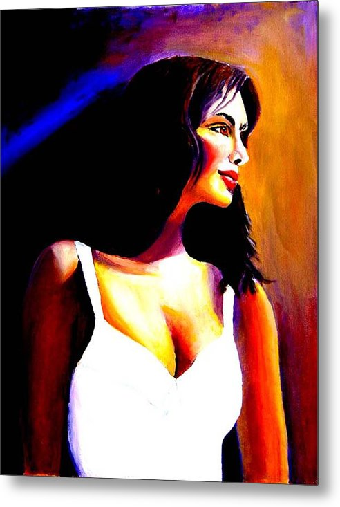 Portrait Of A Beautiful Woman Metal Print featuring the print Fatima by George Markiewicz