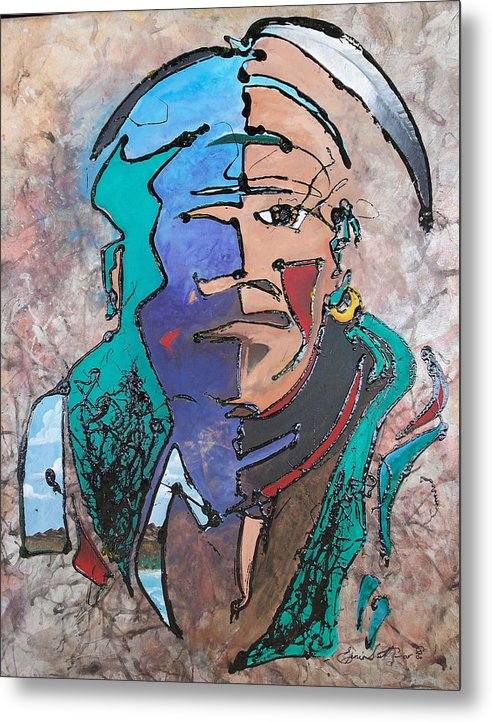 Abstract Metal Print featuring the painting Nigel The Guardian by Ernie Scott- Dust Rising Studios