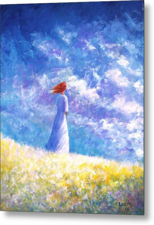 Ireland. Colleen. Young Woman. Sjyscapes. Metal Print featuring the print Colleem's Hill by Carl Lucia