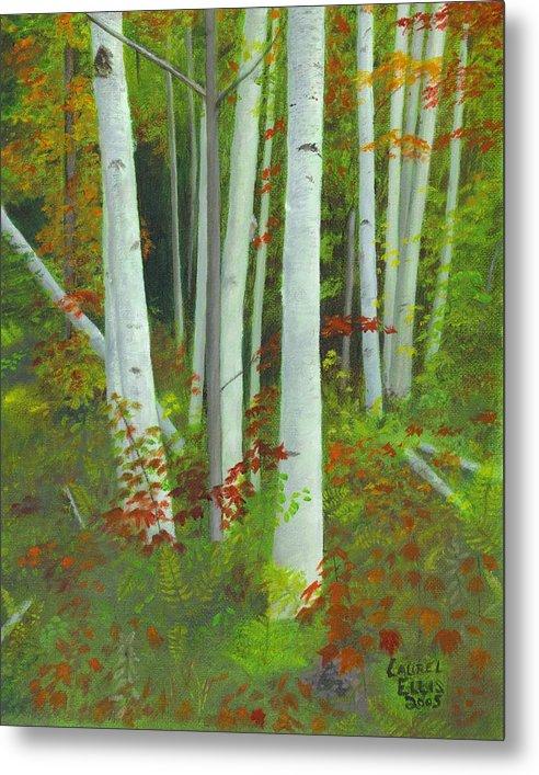Landscape Metal Print featuring the painting Autumn Birches by Laurel Ellis