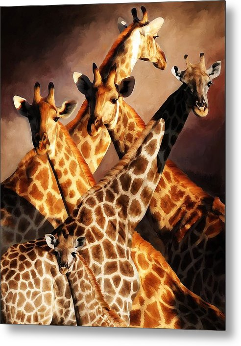 Wildlife Metal Print featuring the painting Giraffe Family by Johnnie Boswell