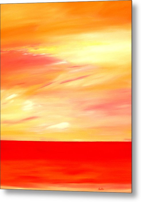 Caribbean Metal Print featuring the painting Sorbet Sky by Sula Chance