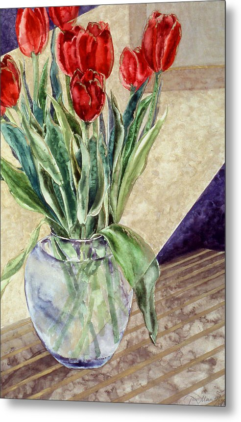 Watercolor Metal Print featuring the painting Tulip Bouquet - 11 by Caron Sloan Zuger