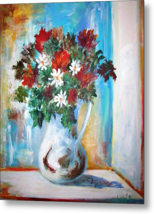 Vase. Flowers. French Light. Impressionism. Metal Print featuring the print Window Box by Carl Lucia