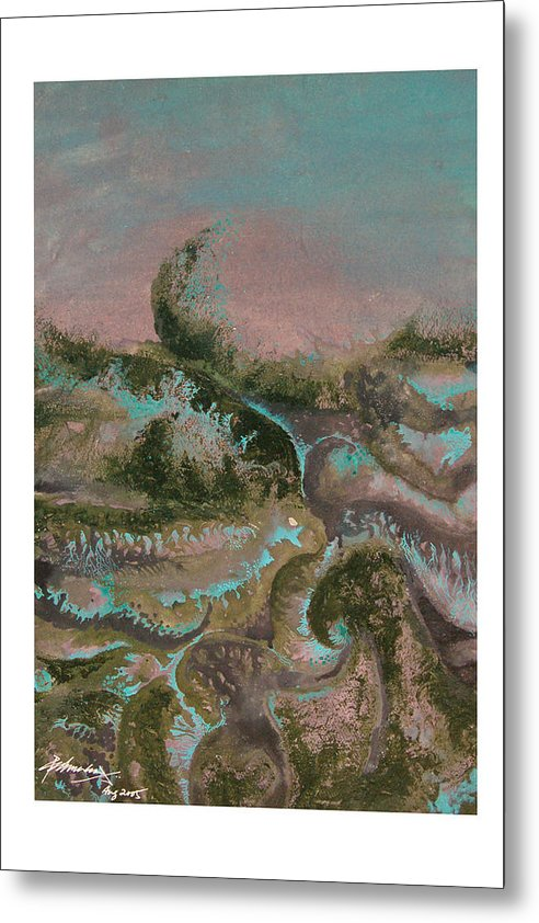 Abstract Metal Print featuring the painting Seascape-2 by Padmakar Kappagantula