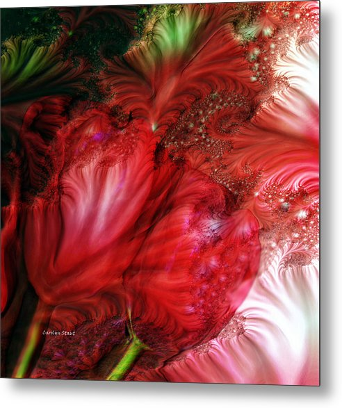 Red Tulips Fractal Art Floral Abstract Realism Metal Print featuring the digital art Red Tulips by Carolyn Staut