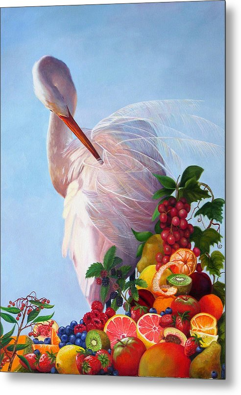 Egret Metal Print featuring the painting Wild And Sweet 7 by Valerie Aune