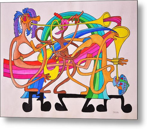 Happy Metal Print featuring the drawing Happy People Horns by Glenn Calloway