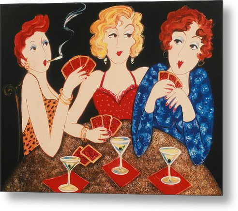 Playing Cards Metal Print featuring the painting Three Of A Kind by Susan Rinehart