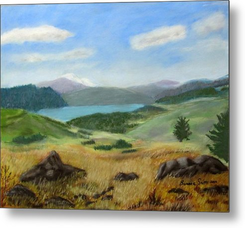 Landscape Of Mountain Metal Print featuring the painting Klamath Vista by Bonnie Smith