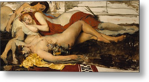 Nude Metal Print featuring the painting Exhausted Maenides by Sir Lawrence Alma Tadema