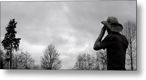 Gray-scaled Metal Print featuring the photograph Artist by Kevin D Davis