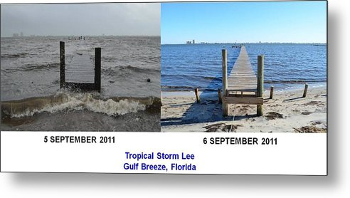 Difference Metal Print featuring the photograph Tropical Storm Lee Difference A Day Makes by Jeff at JSJ Photography