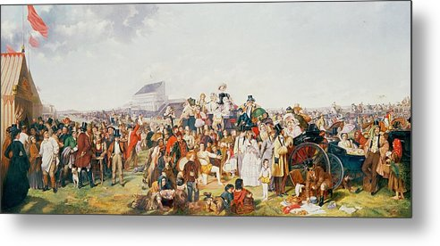 Derby Day (oil On Canvas) By William Powell Frith (1819-1909) (after) Metal Print featuring the painting Derby Day by William Powell Frith