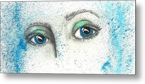 Blue Metal Print featuring the painting Blue Eyes by Sara Burns