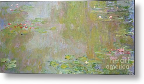 Waterlilies At Giverny Metal Print featuring the painting Waterlilies At Giverny by Claude Monet
