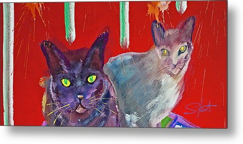 Cat Metal Print featuring the painting Two Posh Cats by Charles Stuart