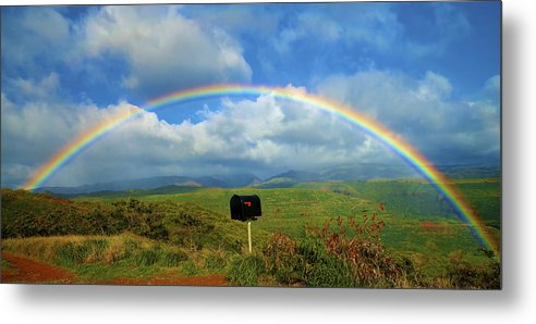 Amazing Metal Print featuring the photograph Rainbow Over A Mailbox by Kicka Witte