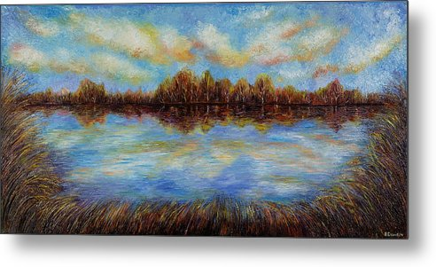 Landscape Metal Print featuring the painting Clouds. by Evgenia Davidov