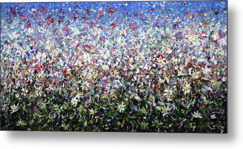 Daisies Metal Print featuring the painting Daisies by Mario Zampedroni