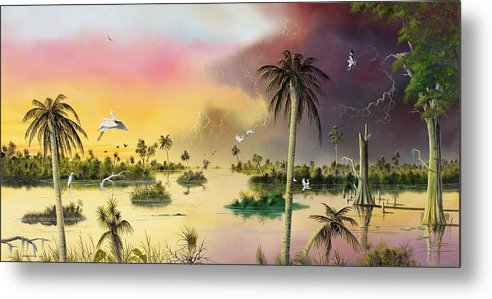 Landscape Metal Print featuring the painting Everglades by Don Griffiths
