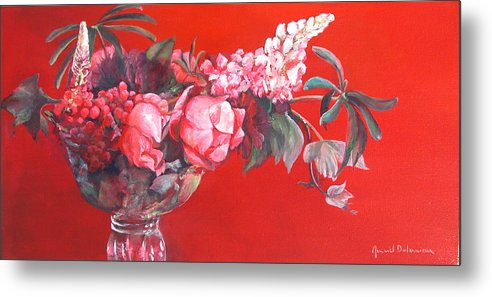 Floral Painting Metal Print featuring the painting Lupin by Muriel Dolemieux