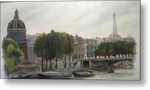 Paris Metal Print featuring the painting Paris Across The Seine by Victoria Heryet