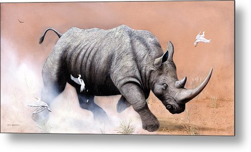 Wildlife Metal Print featuring the painting Rhino by Don Griffiths