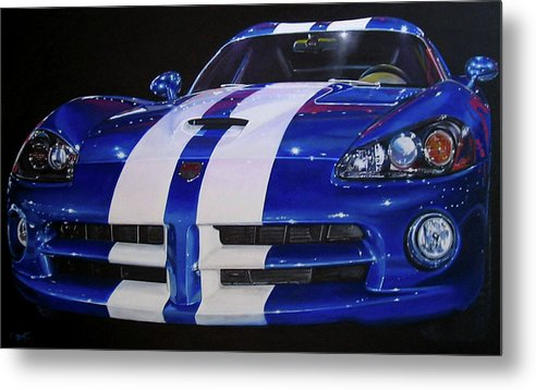Car Metal Print featuring the painting Snake Eyes by Lynn Masters