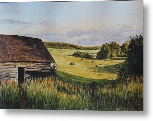 Field Metal Print featuring the painting Living Land by Sabina Bonifazi