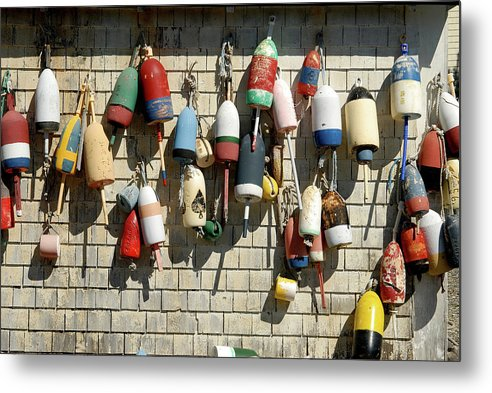 Maine Metal Print featuring the photograph Lobster Buoys by David Campione