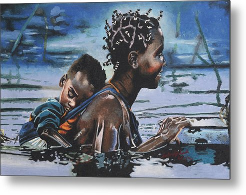 Black Art Metal Print featuring the painting Young Mother And Child by Andre Ajibade
