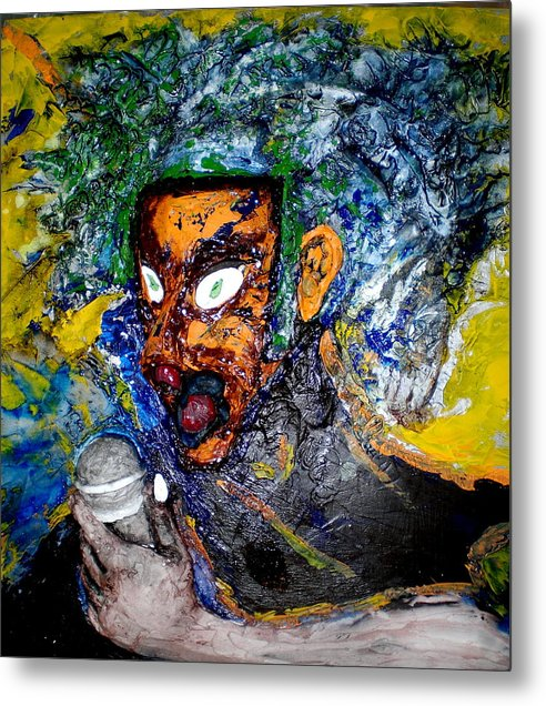 Portraits Metal Print featuring the painting Moses Rap-part II-work In Progress by Kime Einhorn