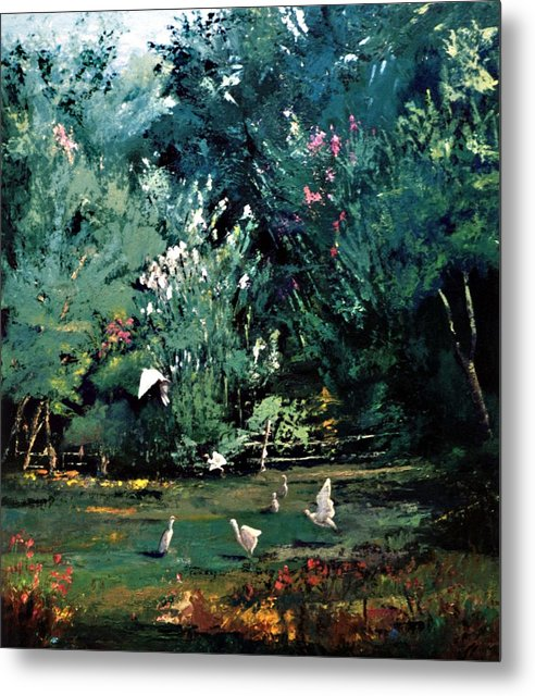 Landscape Metal Print featuring the painting The Egrets Have Landed by Jimmie Trotter
