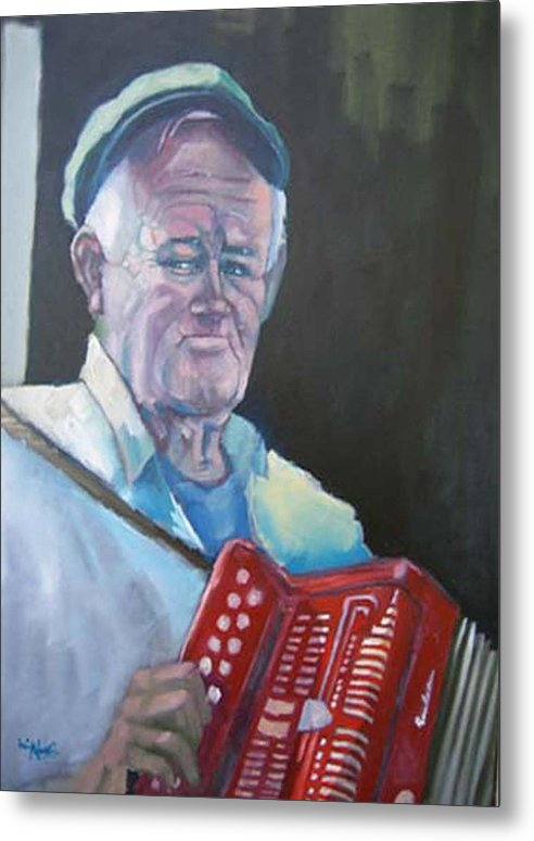 Portrait Figure Metal Print featuring the painting Inis Mor Accordian Player by Kevin McKrell